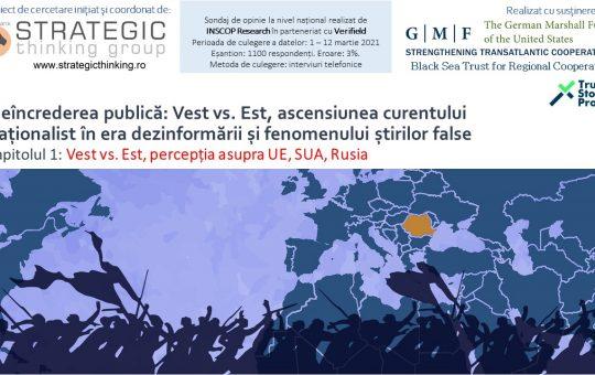 22 MARTIE 2021: Neîncrederea publică: Vest vs. Est, ascensiunea curentului naționalist în era dezinformării și fenomenului știrilor false. CAPITOLUL I Vest vs. Est, percepția asupra UE, SUA, Rusia